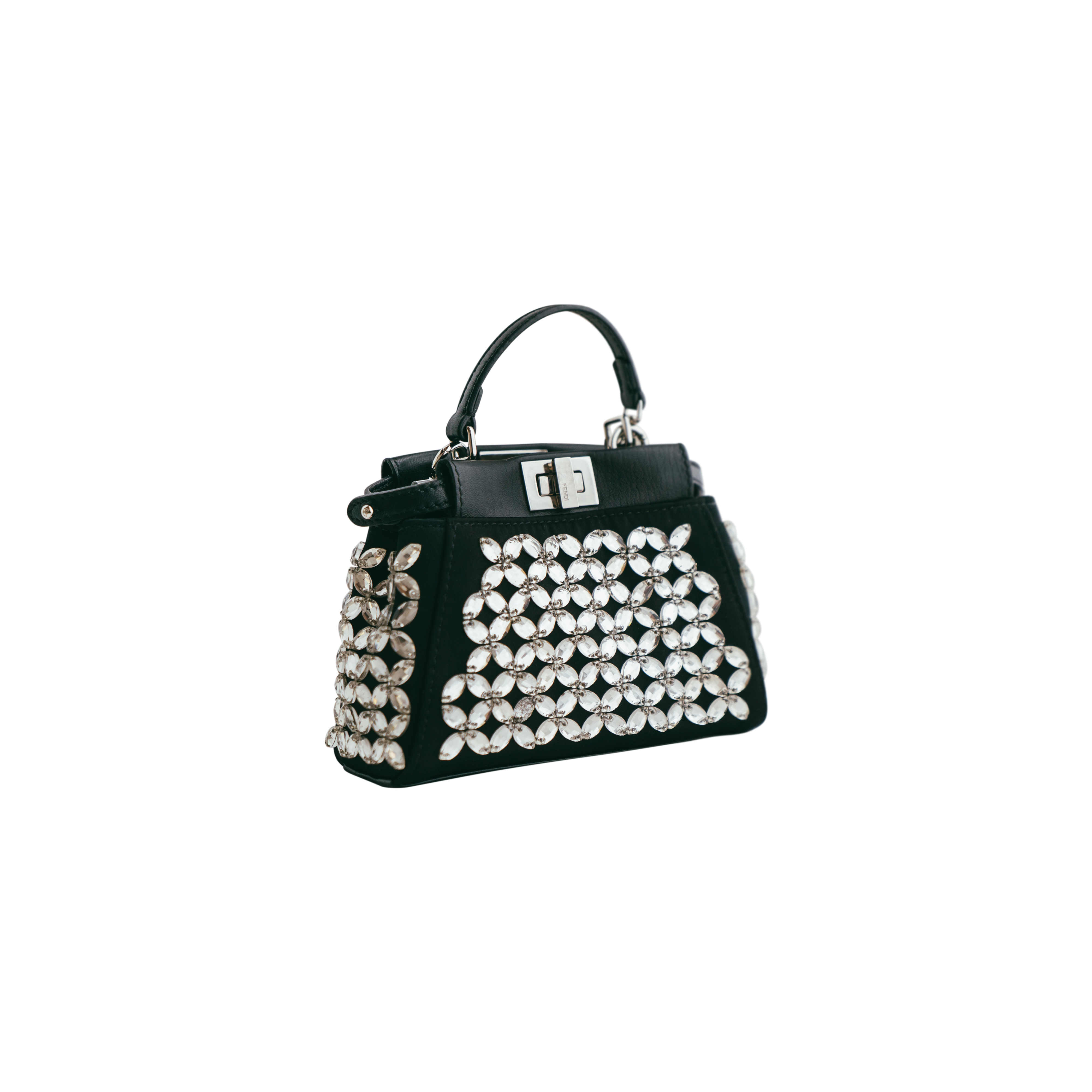 4fa695e4285 Fendi Crystal Embellished Micro Peekaboo Bag