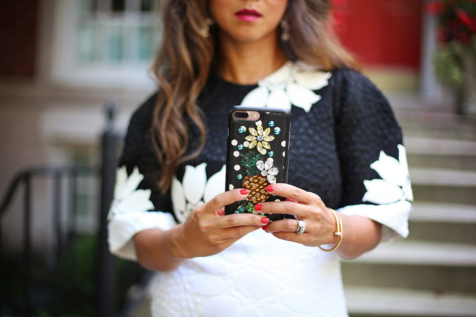 Jant Mandell of Fashionaholic with her Dolce & Gabbana iPhone case